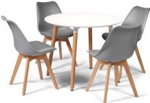 Toulouse Dining Set  - 90cms Round White Table & 4 Grey Chairs